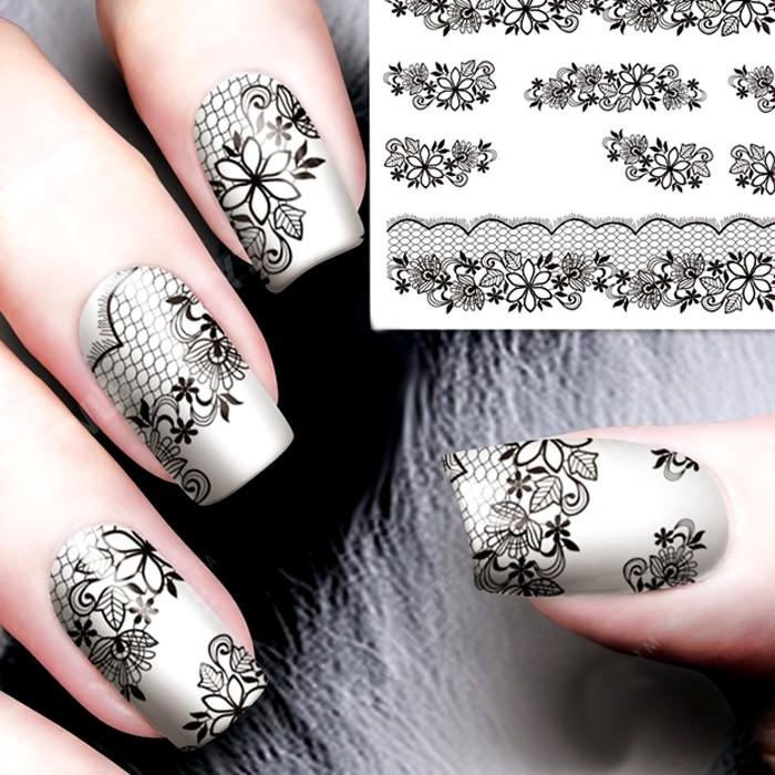 Переводные картинки белые на ногти