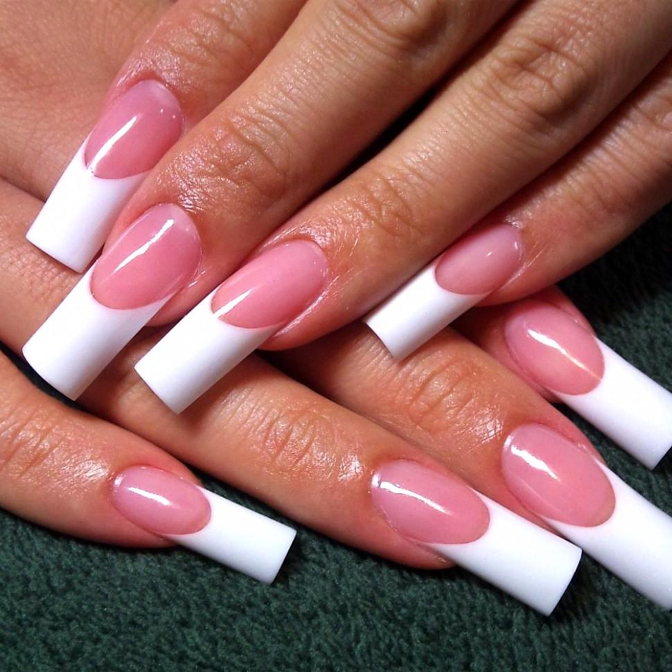 Гель лак фото френч длинные ногти