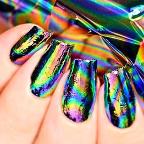 Ногти с голографической фольгой фото